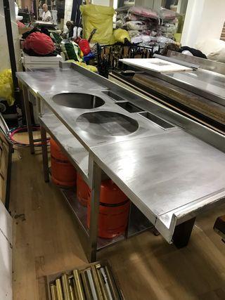 Encimera de cocina en acero inoxidable
