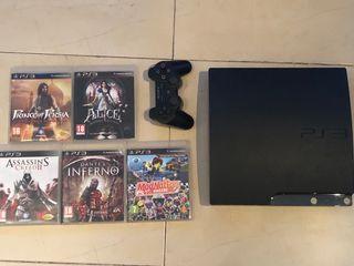 PS3 con mando y 5 juegos en PERFECTO ESTADO!