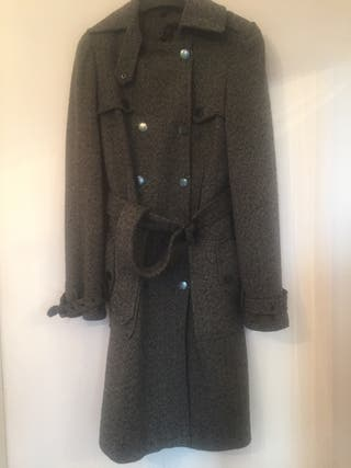 Topshop grey 3/4 tweed trench