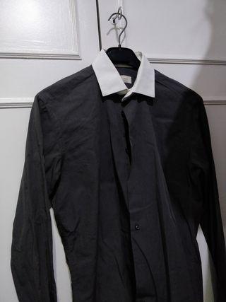 Camisa Hombre Zara Negra Cuello Blanco