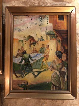 Colección de 6 óleos sobre madera antiguos