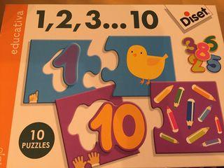 Puzzle Diset números 1-10 prácticamente nuevo
