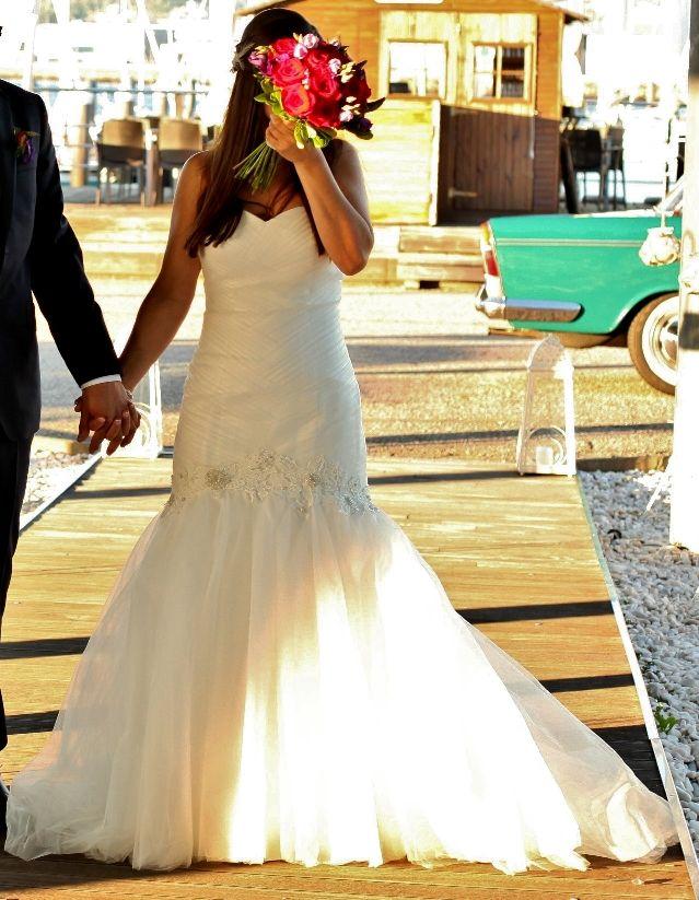 vestido novia hecho a medida imitando rosa clara de segunda mano por