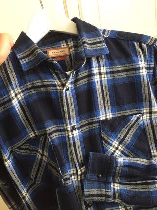 Camisa franela cuadros Zara