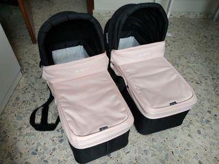 Dos capazos carro gemelar Baby Monsters easy twin