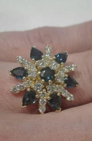 anillo alta joyería diamantes y zafiros