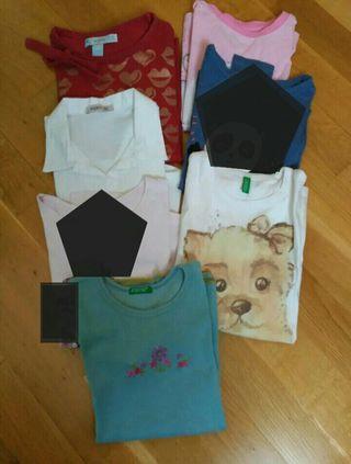 lote 5 camisetas niña 7-8