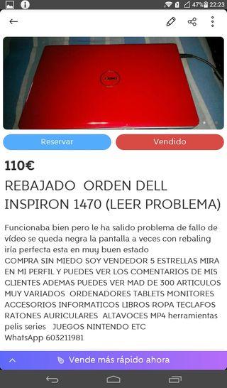 ORDENADOR DELL INSPIRON 1470 LEER FOTO REBAJADO
