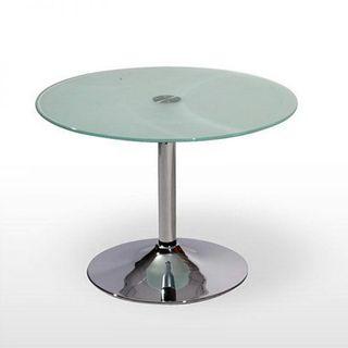 Mesa base acero y vidrio 70cm diametro
