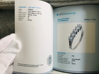 Anillo oro blanco y diamantes G-H, VS. Certificado