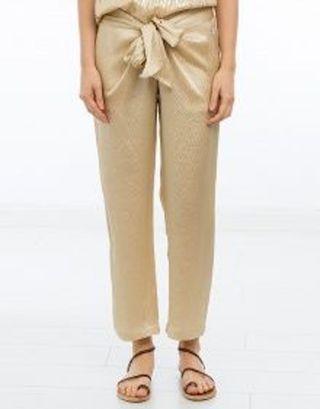 Pantalon en soie gauffrée beige doré T.38