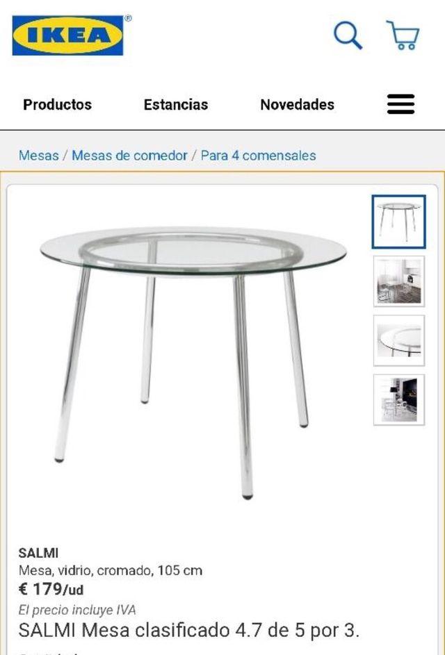 Conjunto comedor mesa de cristal ikea y sillas de segunda for Mesas de comedor de cristal segunda mano
