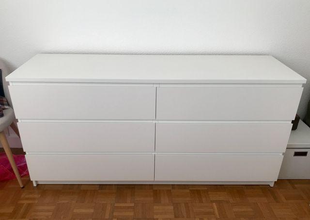 Antiquités Ikea Commode Malm 6 Tiroirs Blanc
