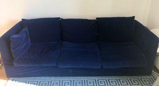 Canapé 3 places 2,35mx80cm bleu nuit velours