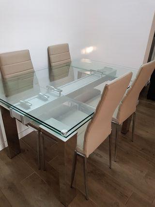 mesa comedor de cristal y sillas