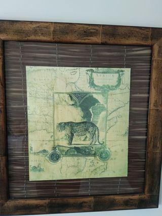 Conjunto de 2 cuadros de elefante y guepardo