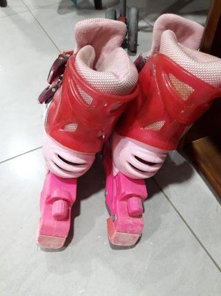 patines ajustables rosas