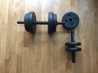 Weights, stretching wheels and dumbbells