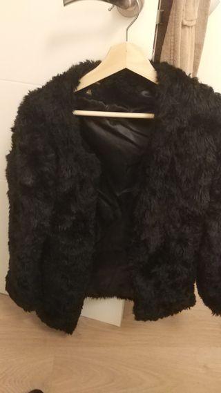 Abrigo de pelo negro stradivarius