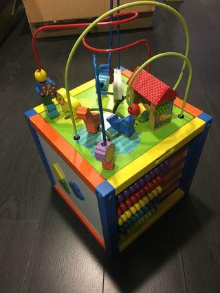 Cubo de madera para bebé,niño,niña,ábaco,didactico