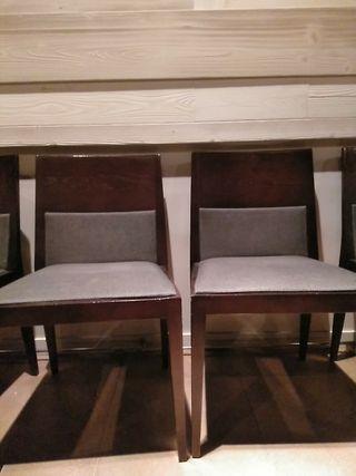 Sillas de madera tapizadas, fusión clásico/moderno