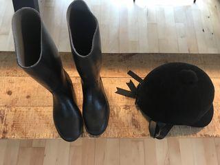 Casco y botas equitación niña