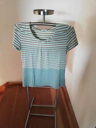 tee shirt bleu rayurres beiges