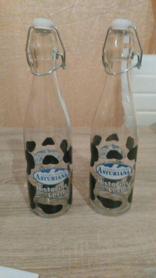 botellas de leche cristal