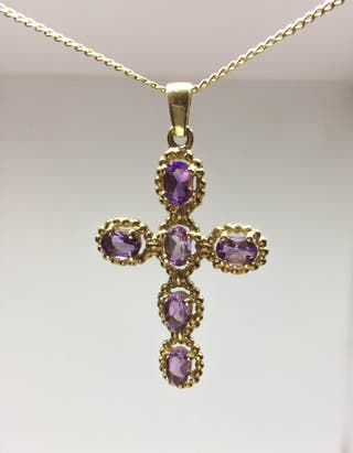 Gold Amethyst Cross with chain