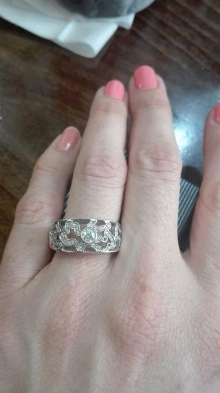 anillo tous oro blanco 18k y diamantes