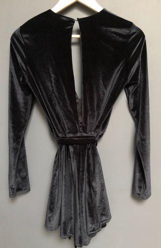 Black velvet jumpsuit