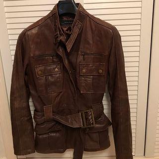 Chaqueta de cuero marrón Zara