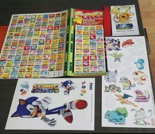 Pokemon y Sonic Pegatinas
