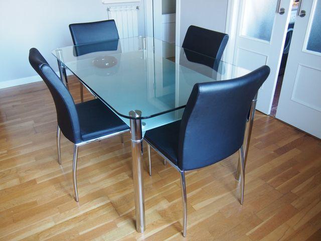 Mesa de comedor vidrio rectangular - 4 plazas de segunda mano por 95 ...
