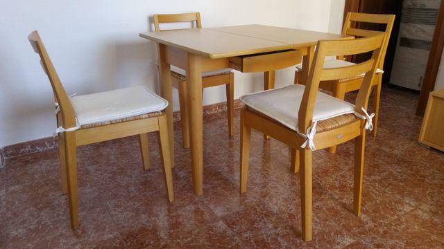 Mesa libro de comedor y 4 sillas de Conforama de segunda mano por ...