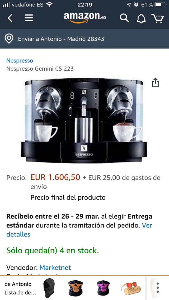 Cafetera Profesional 2 GRUPOS Nespresso-Calentador