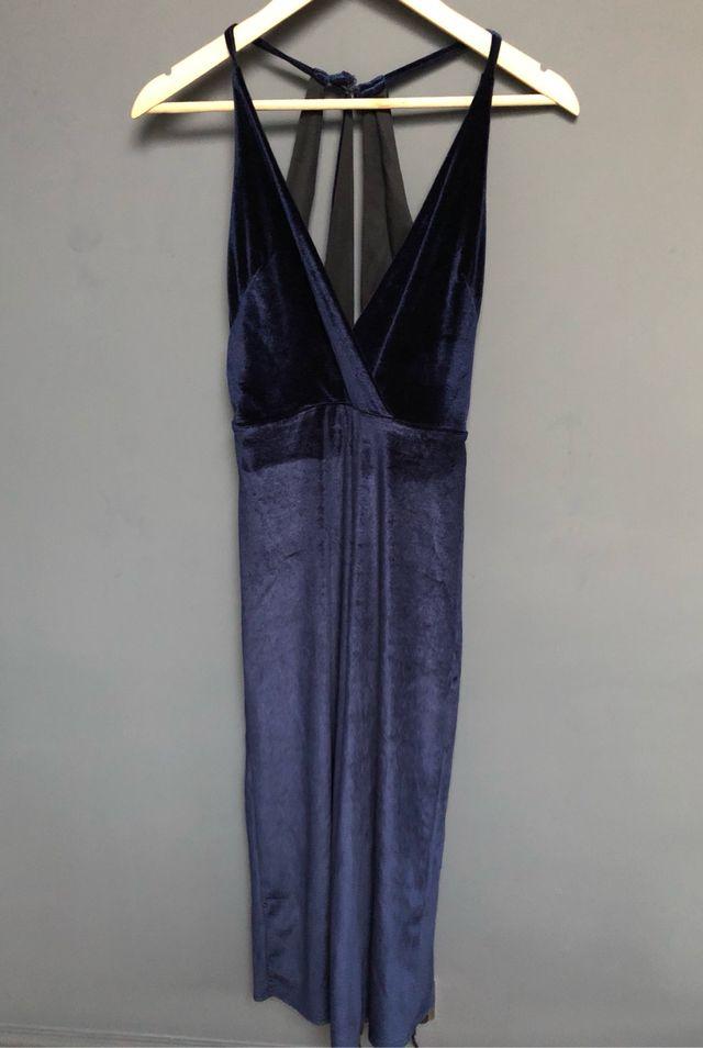 Velvet strap back jumpsuit