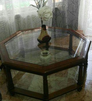 mesa de comedor con cristal