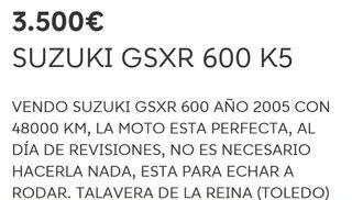 MOTO SUZUKI GSRX 600 K5