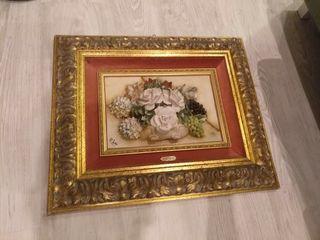 Cuadro con flores de porcelana Capodimonte Mollica