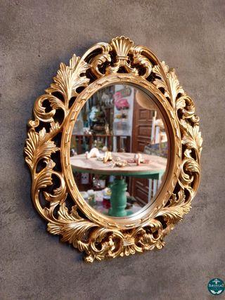 Espejo Barroco 39cm Alto Dorado