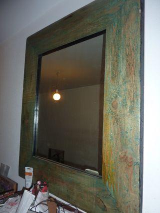 espejo madera verde