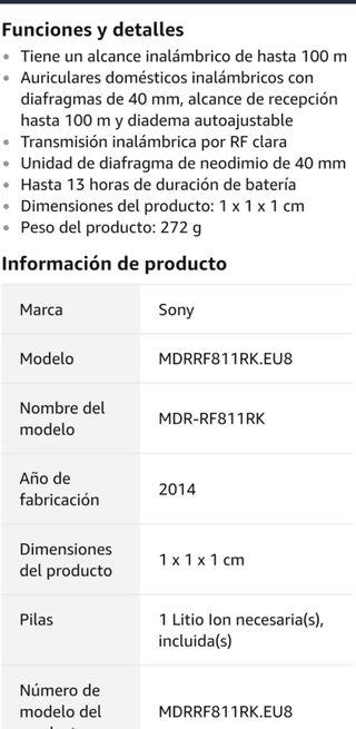 Auriculares Sony RF811RK