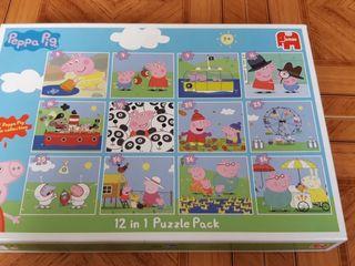 12 Puzzles Peppa Pig (+3 años)