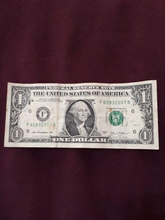 billete one dólar