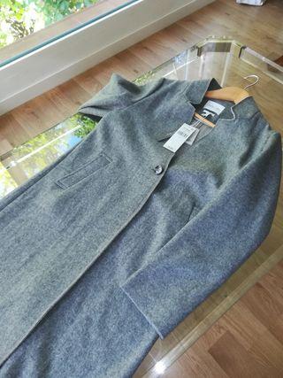 Abrigo lana gris mujer talla M /L CON ETIQUETAS