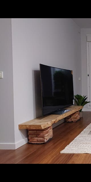 Mesa TV madera maciza 200x38