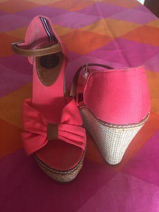 Sandalias esparto rosa