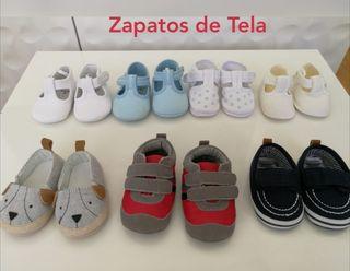 Zapatos Bebé piel y tela, tallas 15 y 16