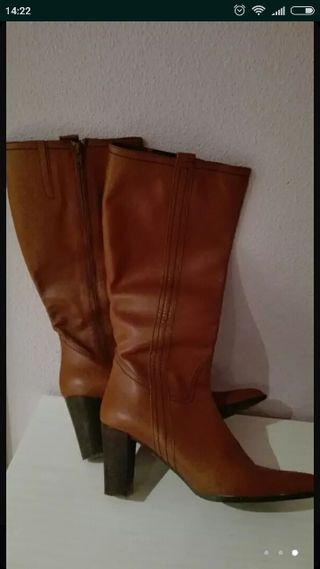 botas piel marrones numero 40